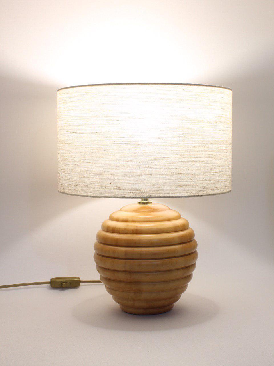 Abat Jour Cilindro abat-jour h.39 cm sfera in legno naturale con paralume cilindro cervino
