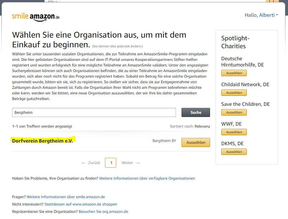 """Schon steht unser """"Dorfverein Bergtheim e.V."""" zur Auswahl. Nun einfach den Knopf """"Auswählen"""" bestätigen."""