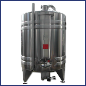 Cylindrical stainless steel tank