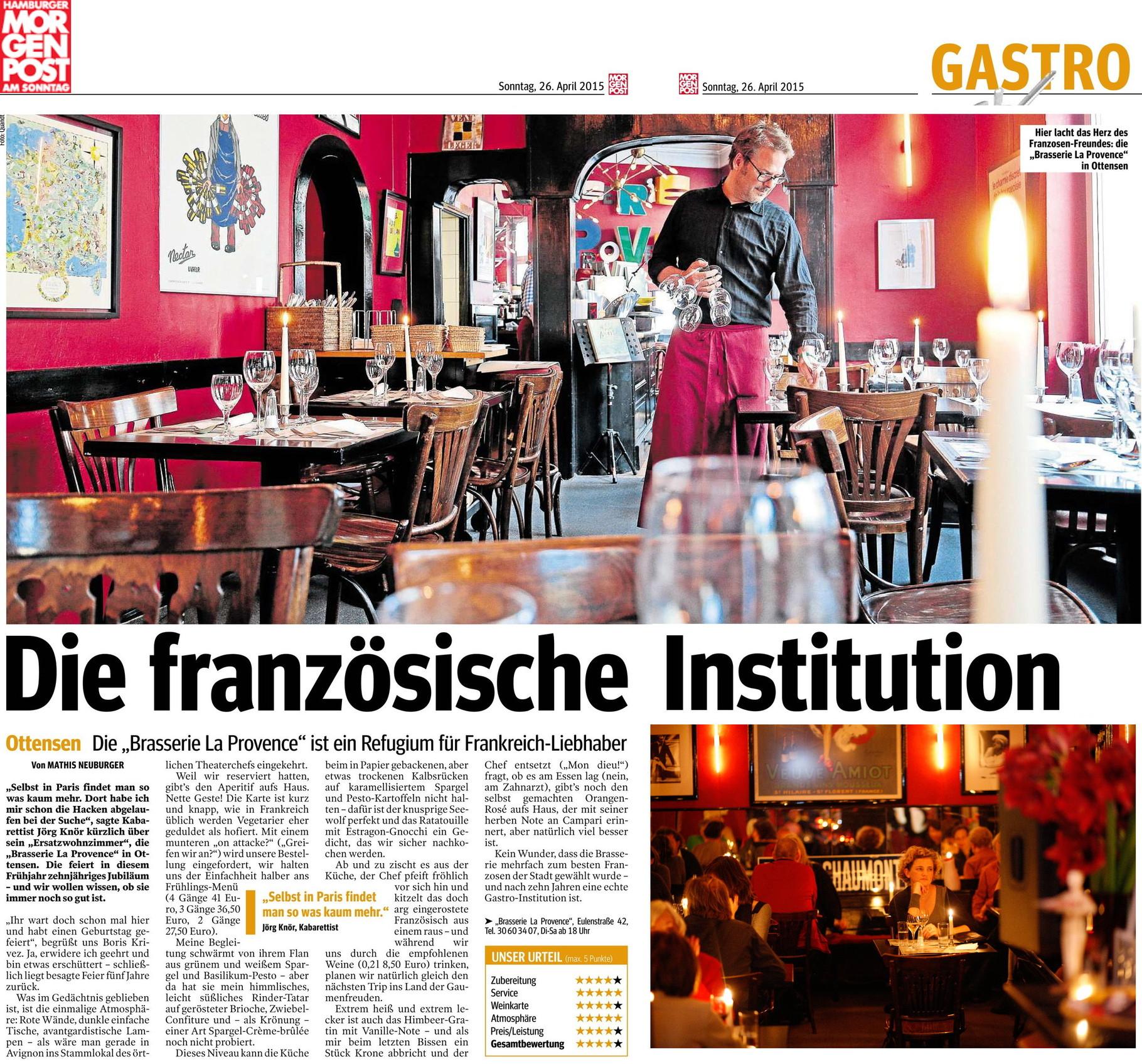 HAmburger MorgenPost   Brasserie La Provence   Ein Stück Frankreich In  Hamburg