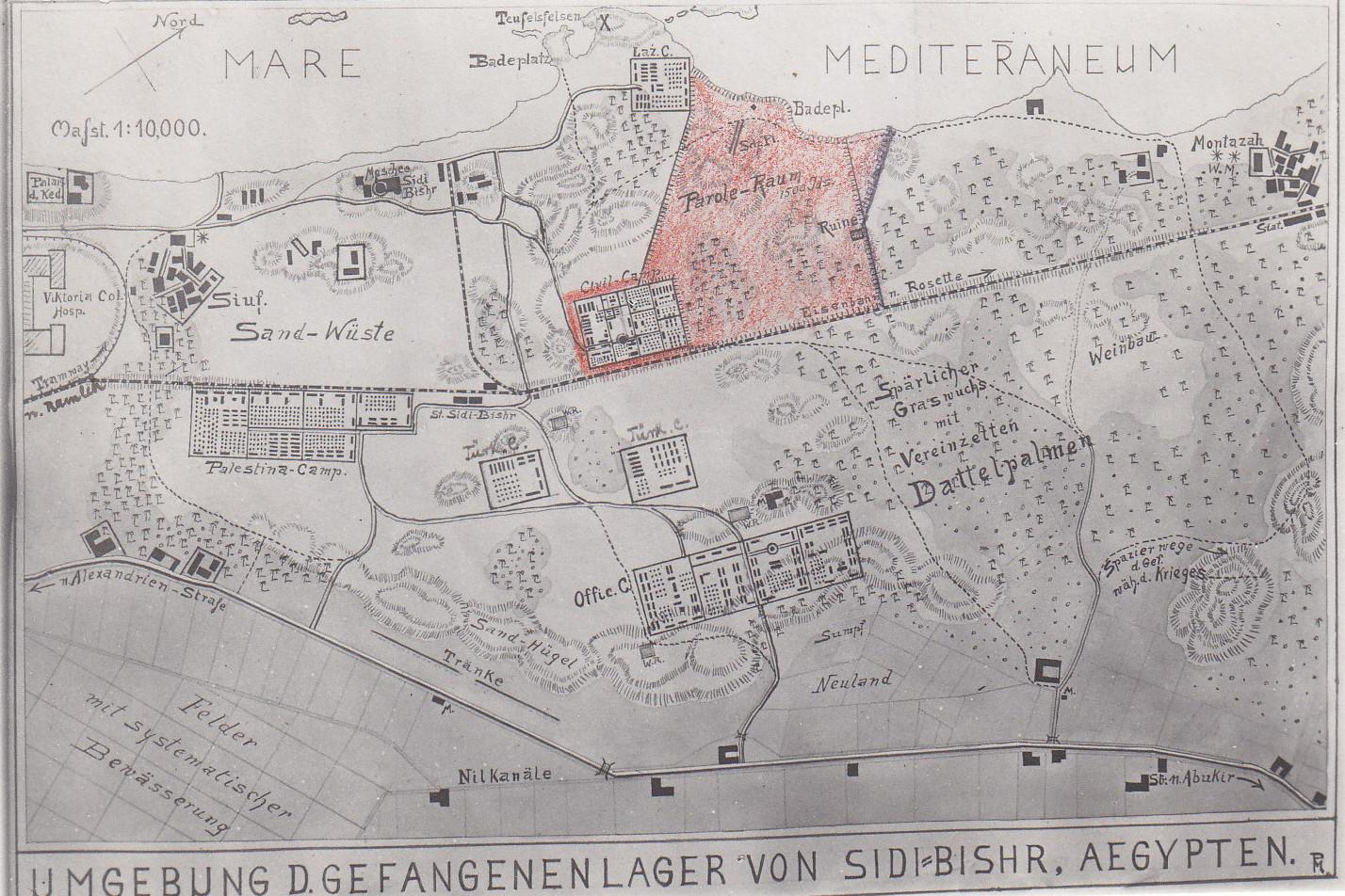 Übersichtsplan des Gefangenenlagers Sidi Bishr
