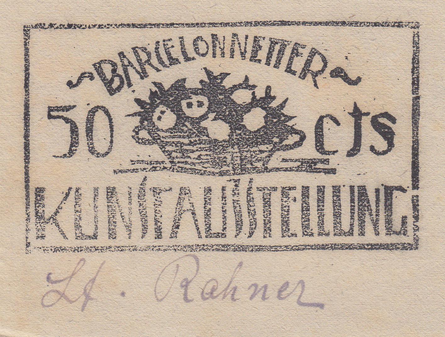 Eintrittskarte Kunstausstellung 18.-20. Mai 1919 über 50 cts.