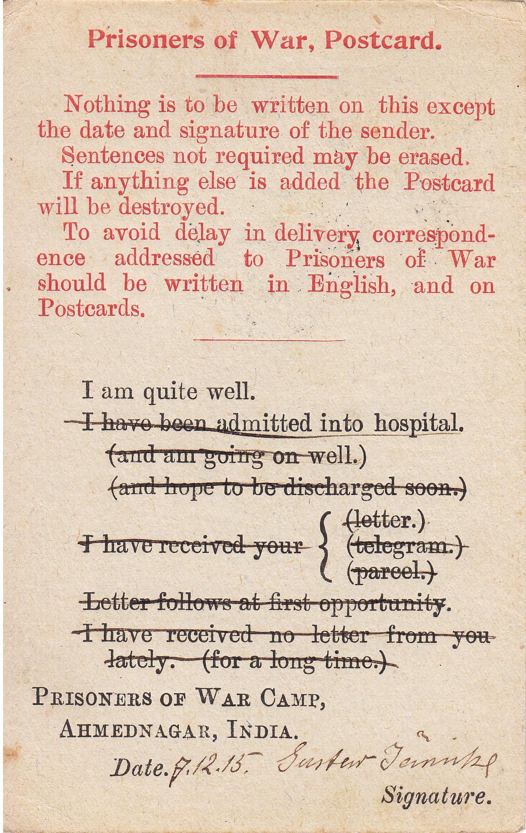 Typische Postkarte für deutsche Gefangene 1915