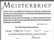Meisterbrief von Lutz Hillebrecht