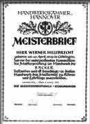 Meisterbrief von Werner Hillebrecht