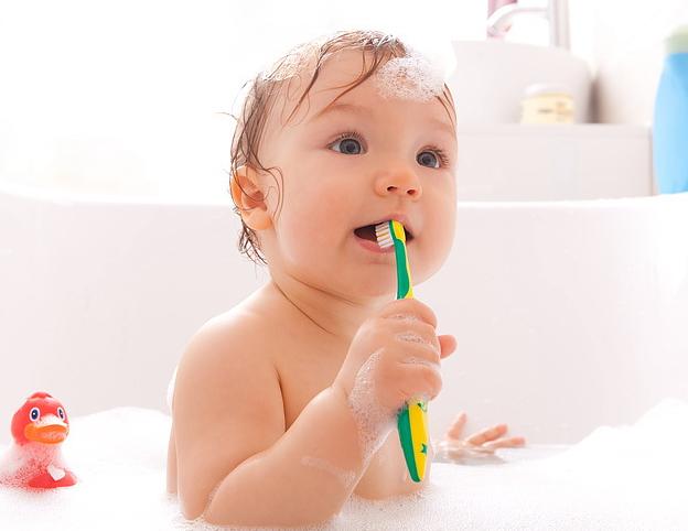Es reicht aus, die Zähne Ihres Kindes zwei Mal täglich zu putzen, wobei Sie nur vor dem Schlafen Zahncreme verwenden sollten.