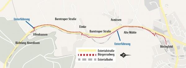 So sieht die Linienführung des Bürgerradwegs zwischen Ullenhausen und Bösingfeld aus. (© Grafik: Möller)