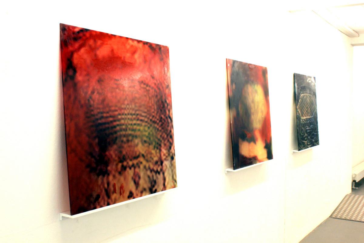 2015 Öl/Print/Glas je 80x80cm Ausstellungsansicht