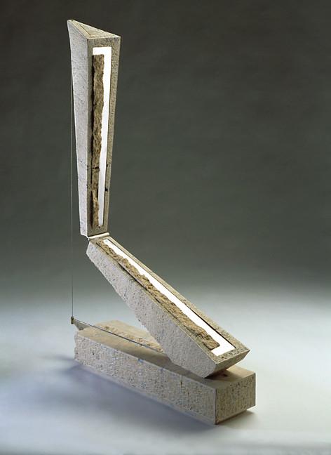 ponte verticale, travertino acciaio