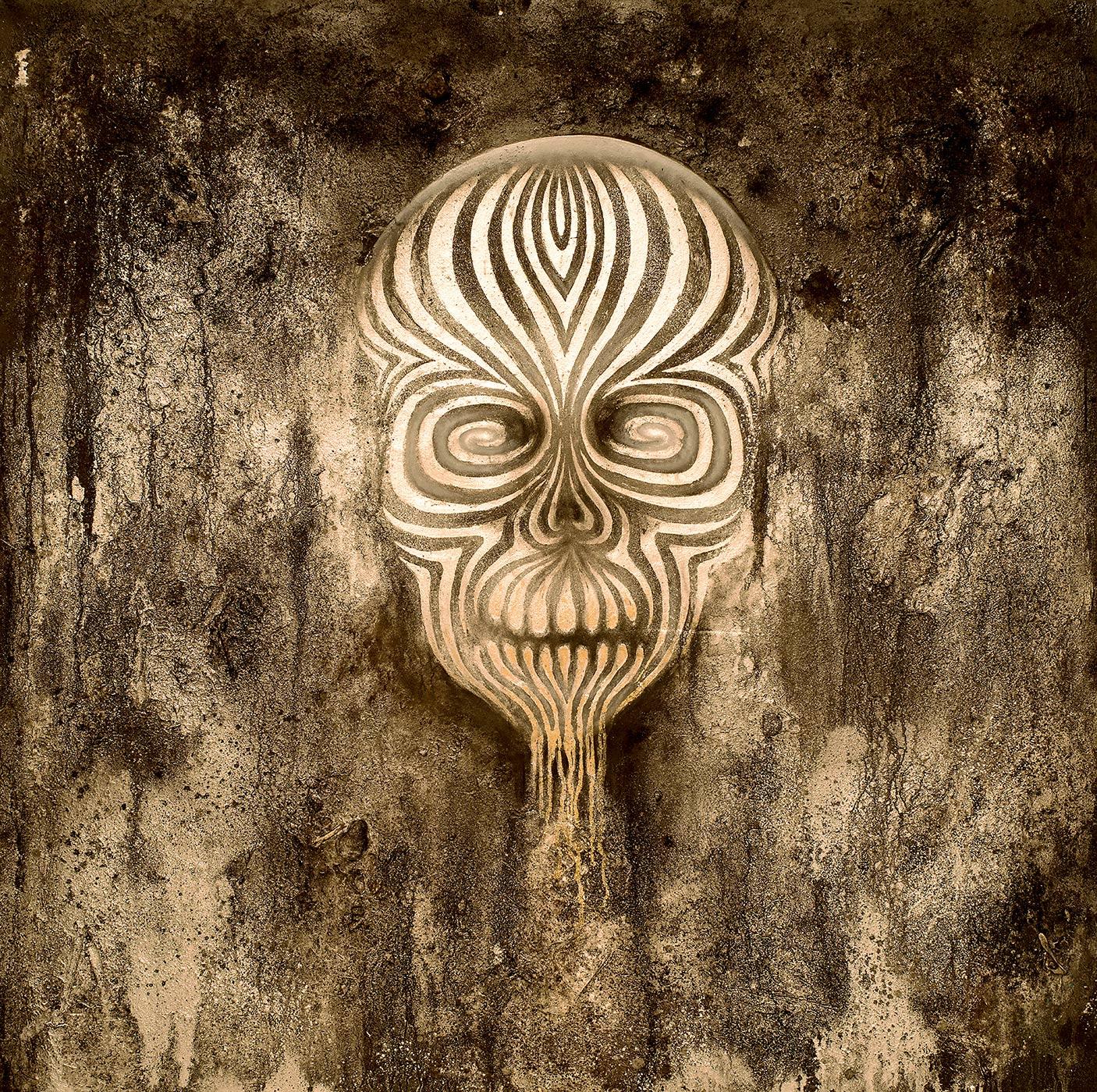 Tod (150x150cm) -Acryl, Kreide, Öl, Sprühlack, Schlagmetall, Pigmente auf Platte