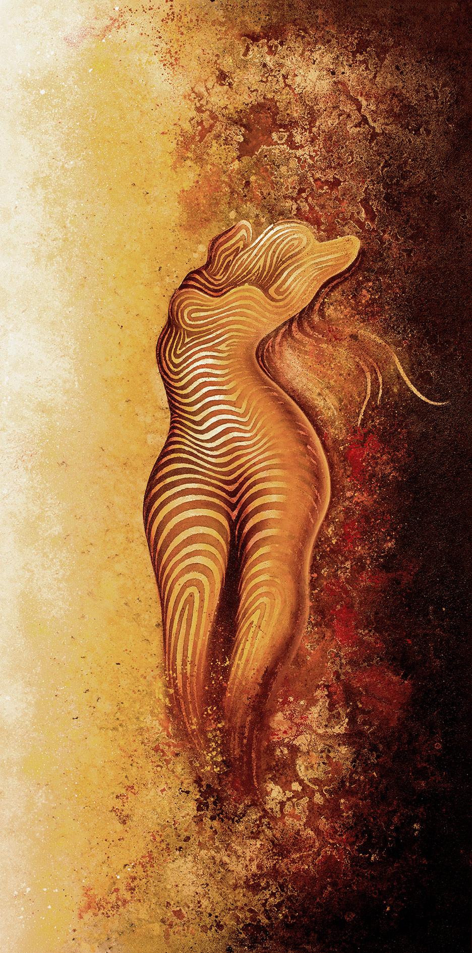 Frauen Akt (100x200cm) -Acryl, Sprühlack, Schlagmetall, Kreide Pigmente auf Leinwand