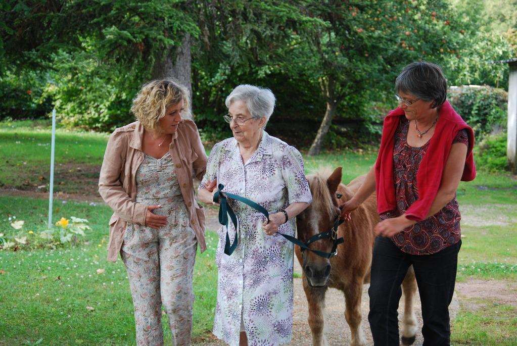 Thérapie senior : je me promène dans le parc de la résidence avec un poney