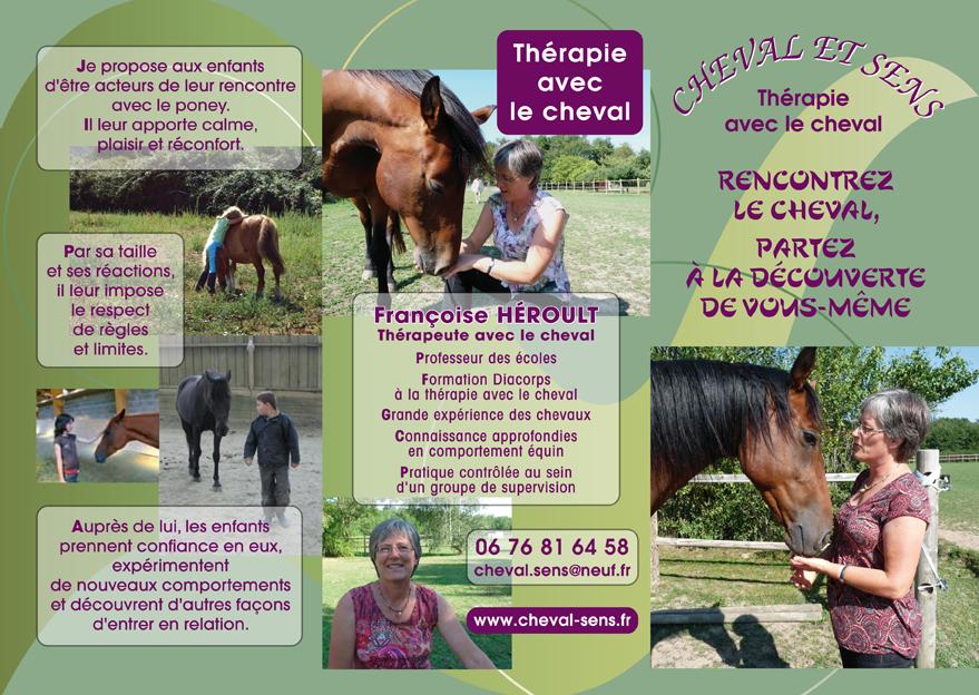 La plaquette psychothérapie avec le cheval-recto de Cheval et Sens