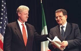 Romano Prodi con l'ex Presidente degli Stati Uniti Bill Clinton nel '96