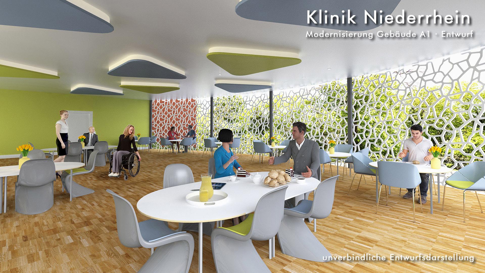 Innenraum-Visualisierung Cafeterria in Düsseldorf