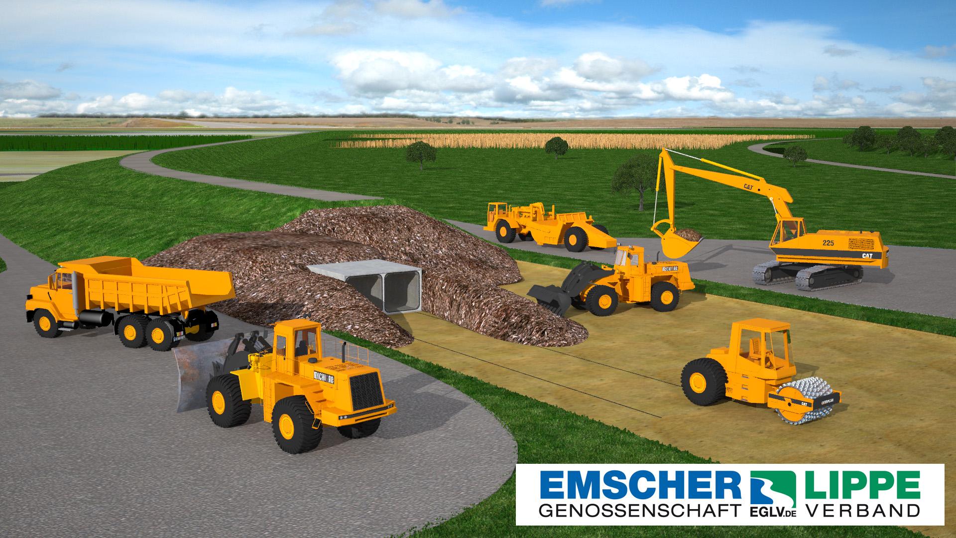 3D Visualisierung einer Baustelle zum Deichbau / Hochwasserschutz