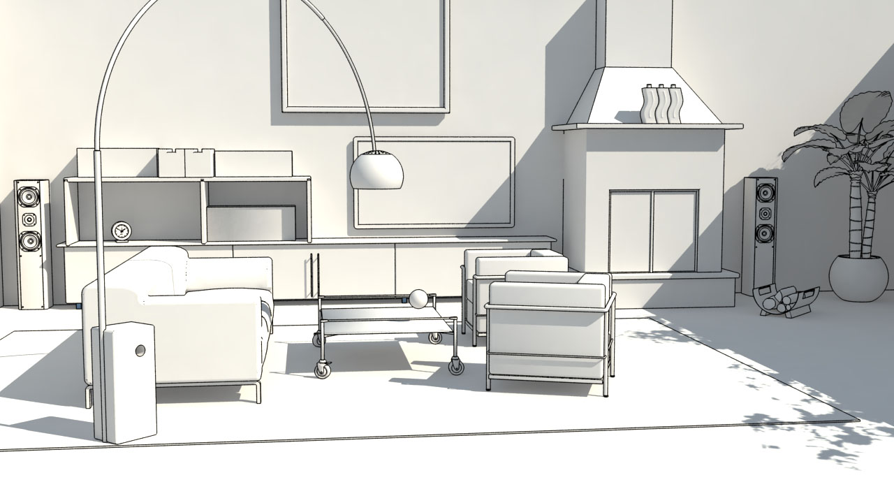 Zeichnung Wohnbereich Entwurf