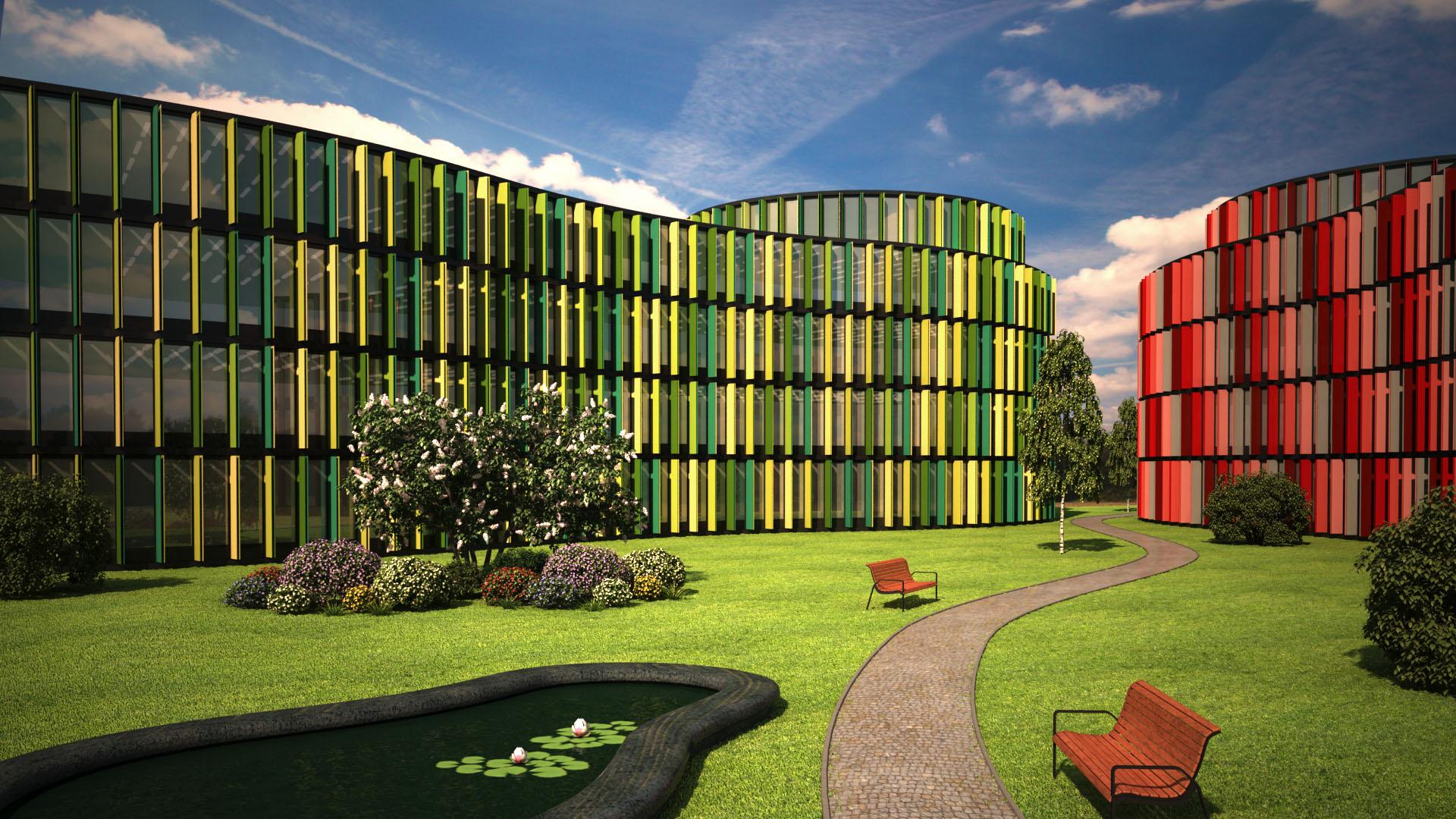 Bürogebäude Industriebauten 3D-Visualisierung in Köln