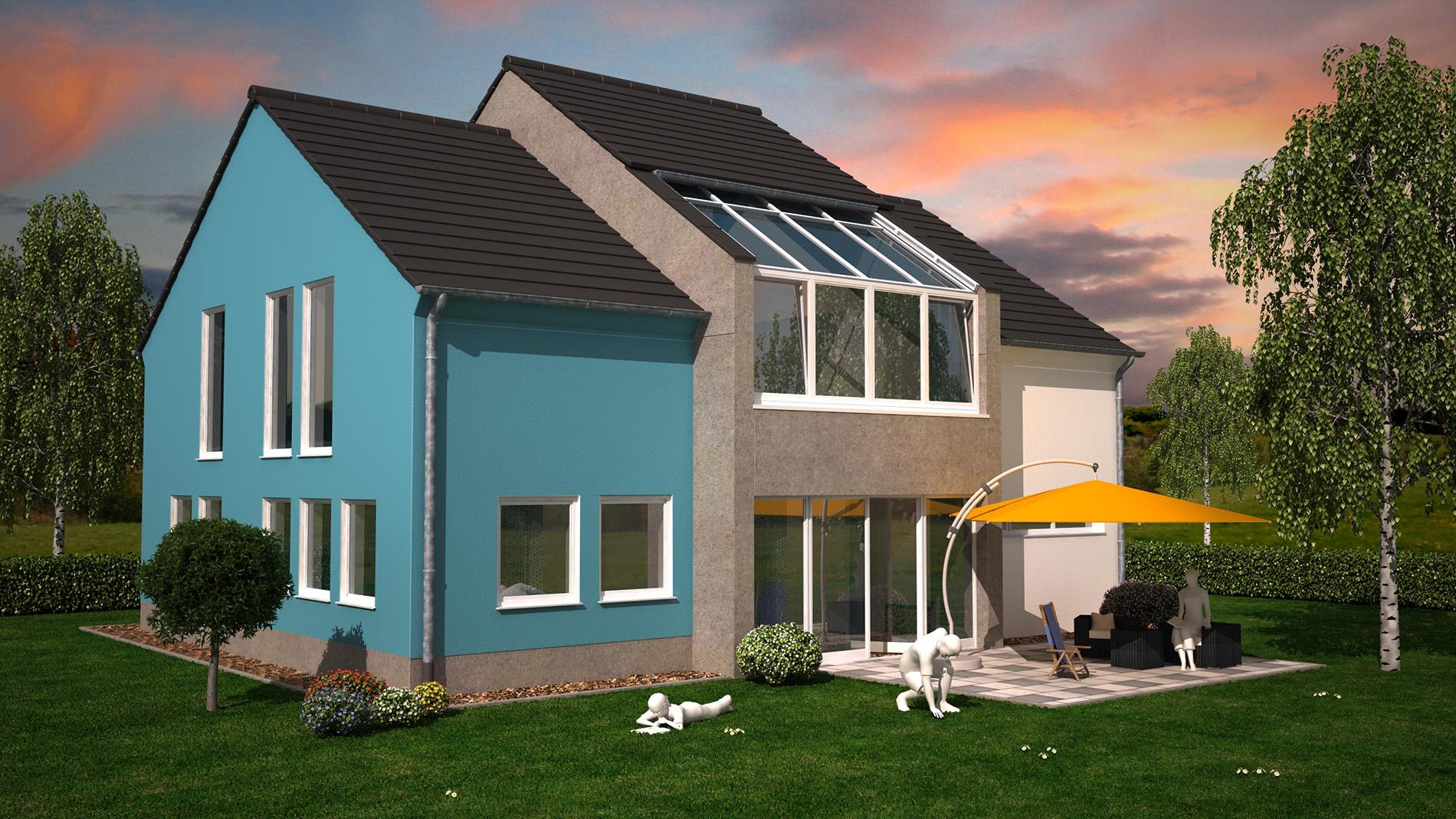 3D-Visualisierung Einfamilienhaus mit Garten in Bergisch Gladbach