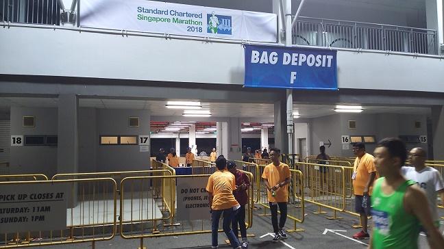 シンガポールマラソン手荷物預け場所