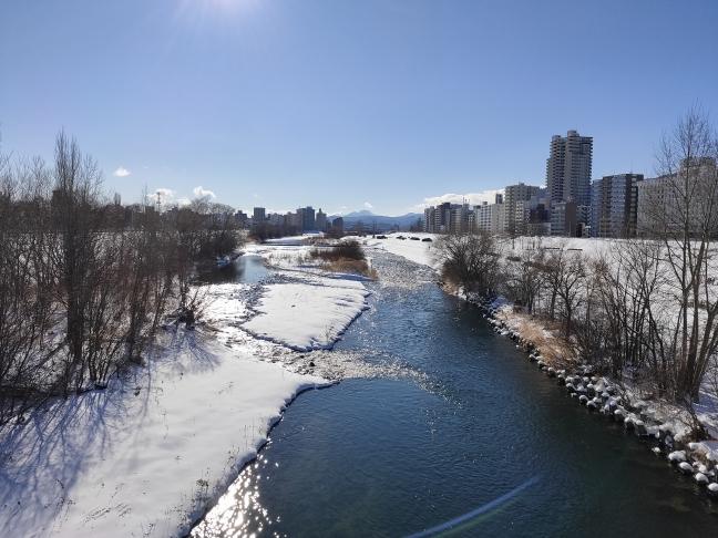 豊平川と恵庭岳