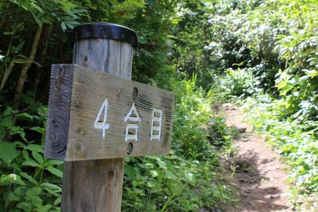 岩内岳登山道4合目の標識