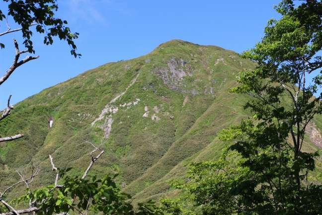 黒松内岳登山道5合目から見上げた山頂