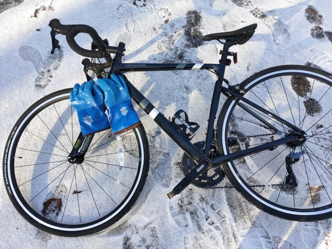 ロードバイクと雪