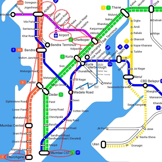 ムンバイ路線図