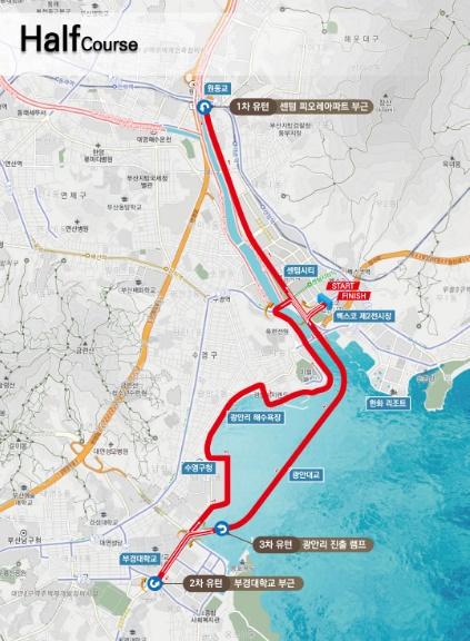 釜山海マラソンハーフマラソンコース