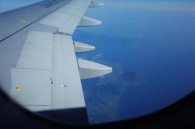 機内から見た開聞岳