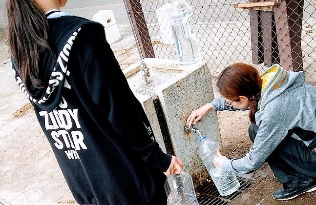 給水の場面