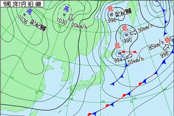 令和2年11月9日6時の天気図