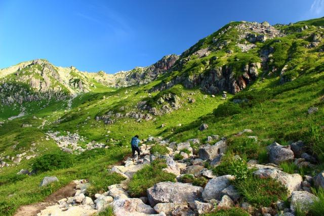 杓子平から抜戸岳への登り
