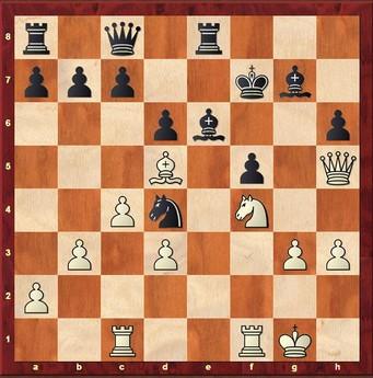 Kubiak - Hein 0:1 - Weiß hat auf f7 einen Springer geopfert. Aber die schwarze Stellung hält. 22. ... Kg8 23.Sxe6 Sxe6 24.Dxf5 Kh8 25.Tce1 Sd4 26.Dg6 Txe1 27.Txe1 Df5 28.Te8+ Txe8 29.Dxe8+ Df8 30.Dg6 Sf3+ 31.Kh1 Se5 32.De4 c6 33.Le6 Df1+ 0–1