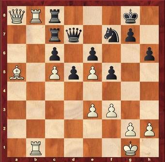 Mauelshagen - Springob 1:0 - Weiß vor dem Qualitätsgewinn 33. ... Txb8 34.Txb8+ Kh7 35.Lxc7 Dxc7 36.f4 De7 37.Da3 Dh4 38.Dc1 Dh5 39.Tc8 De2 40.Txc6 1–0