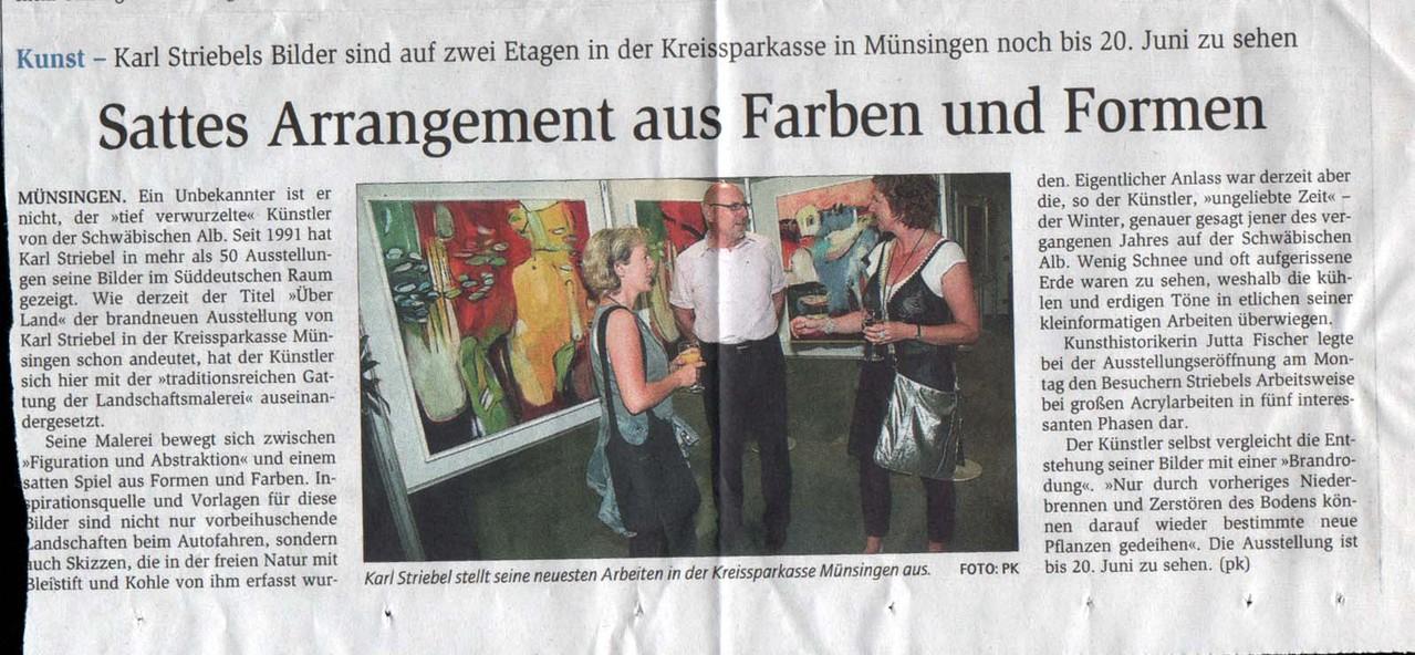 2008 -Reutlinger Generalanzeiger Ausstellung in der Kreissparkasse Münsingen