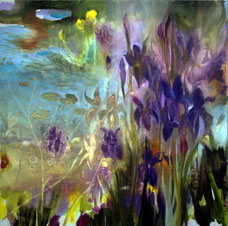 Iris olio su tela cm 80 x 80 (1)