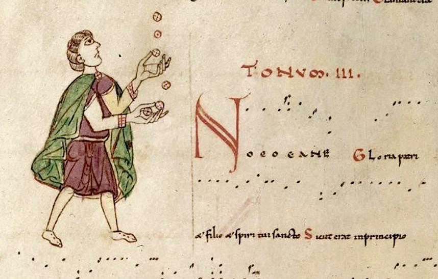 Tonaire d'un graduel de la cathédrale Saint-Étienne de Toulouse, British Library, ms Harley 4951, f°298v, fin XIe s.