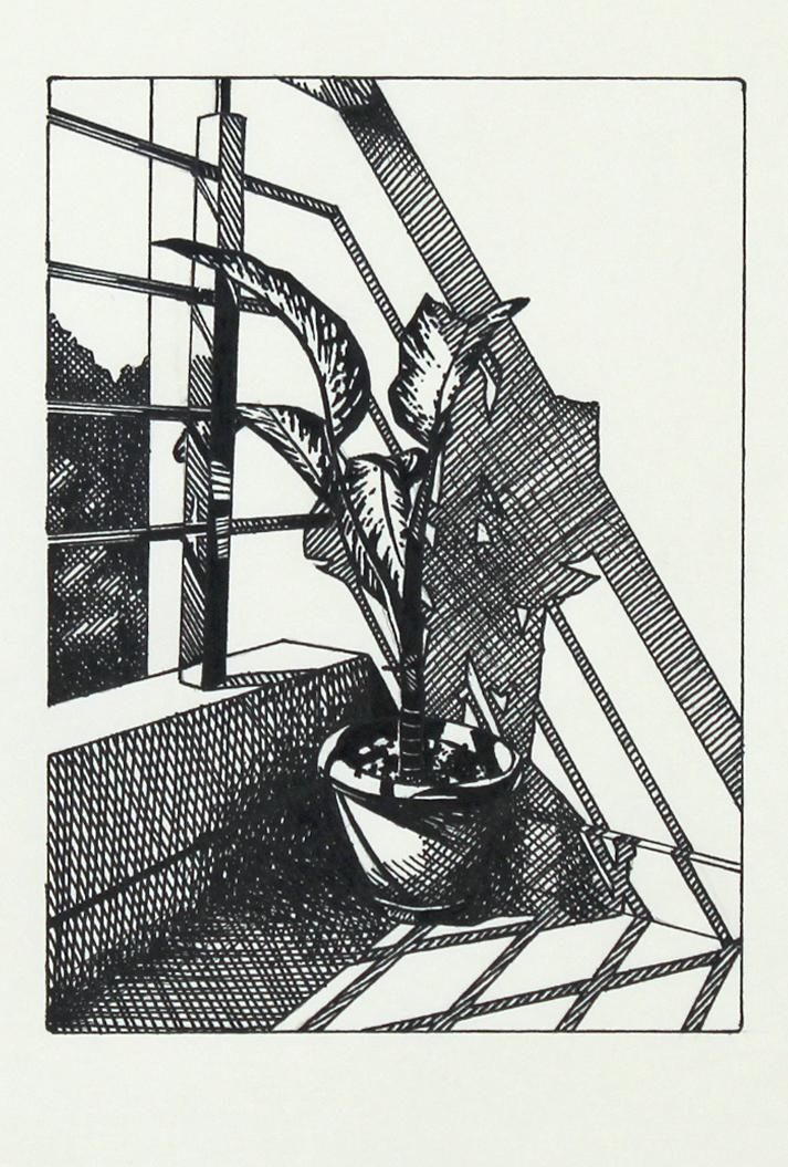 balcony (Gurgaon), ink on paper, 15x10,7cm