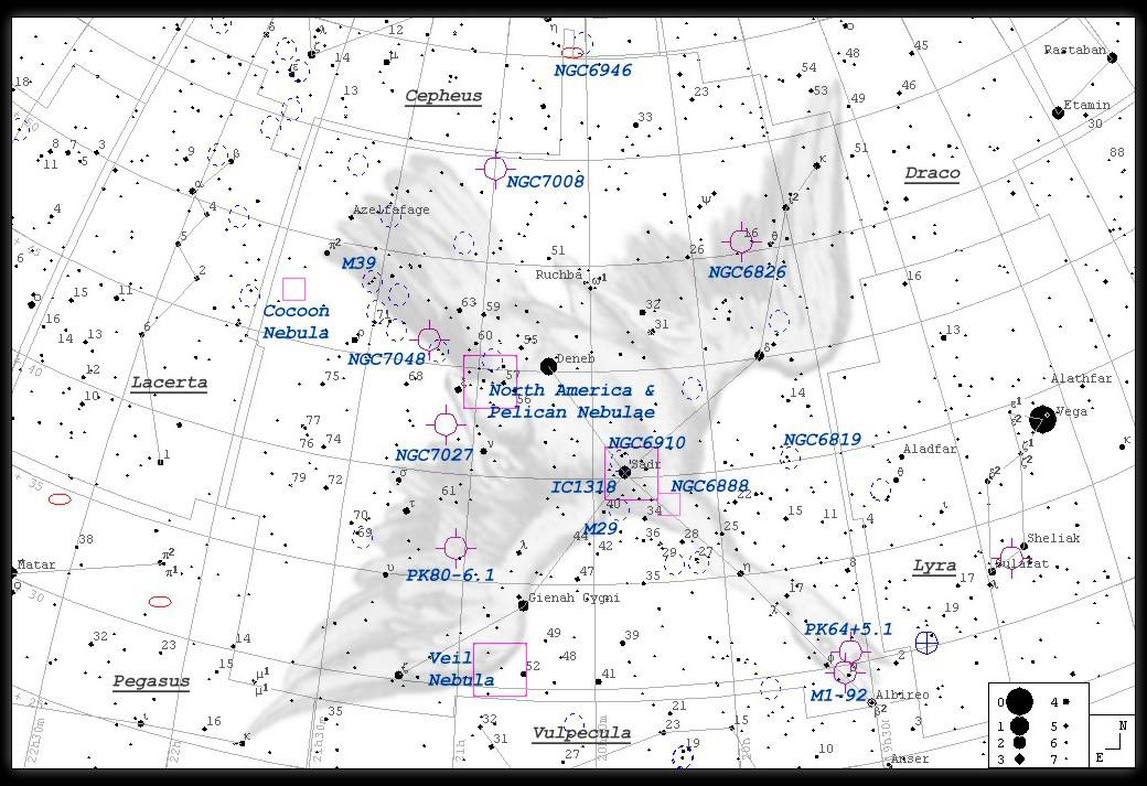 IC 5146, Kokon-Nebel, Collinder 470 - Finderchart / Aufsuchkarte  MeixnerObservatorium