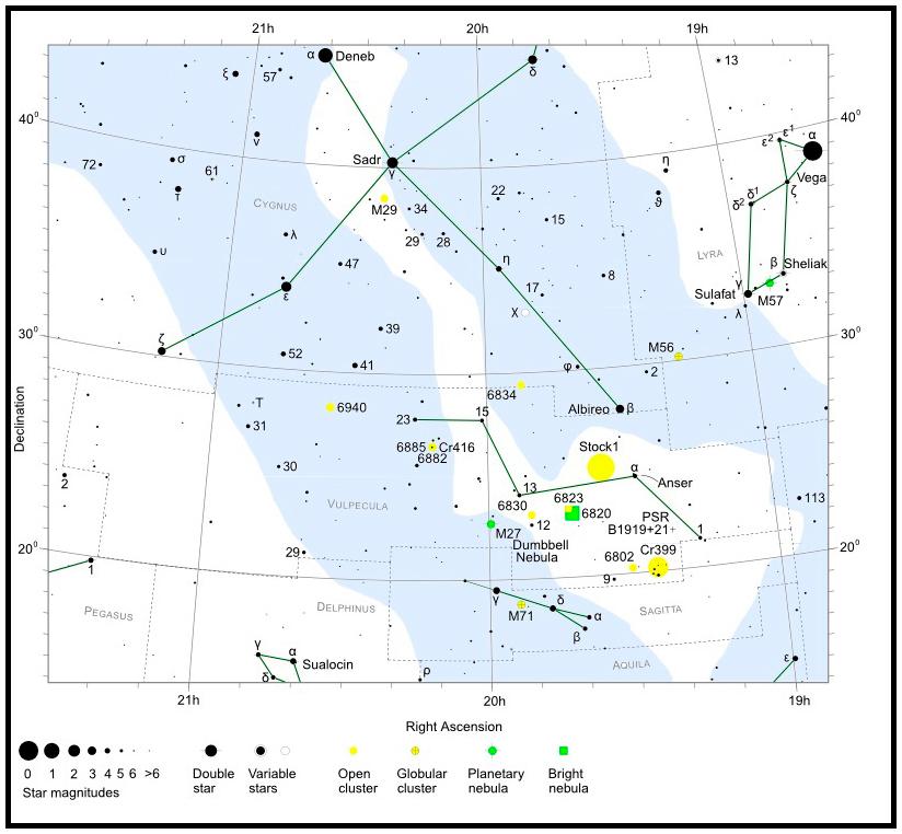NGC 6823 • C 1941+231 • OCl 124 • Cr 405 • GC 4512 • H VII 18 • h 2049 •- Finderchart / Aufsuchkarte  MeixnerObservatorium
