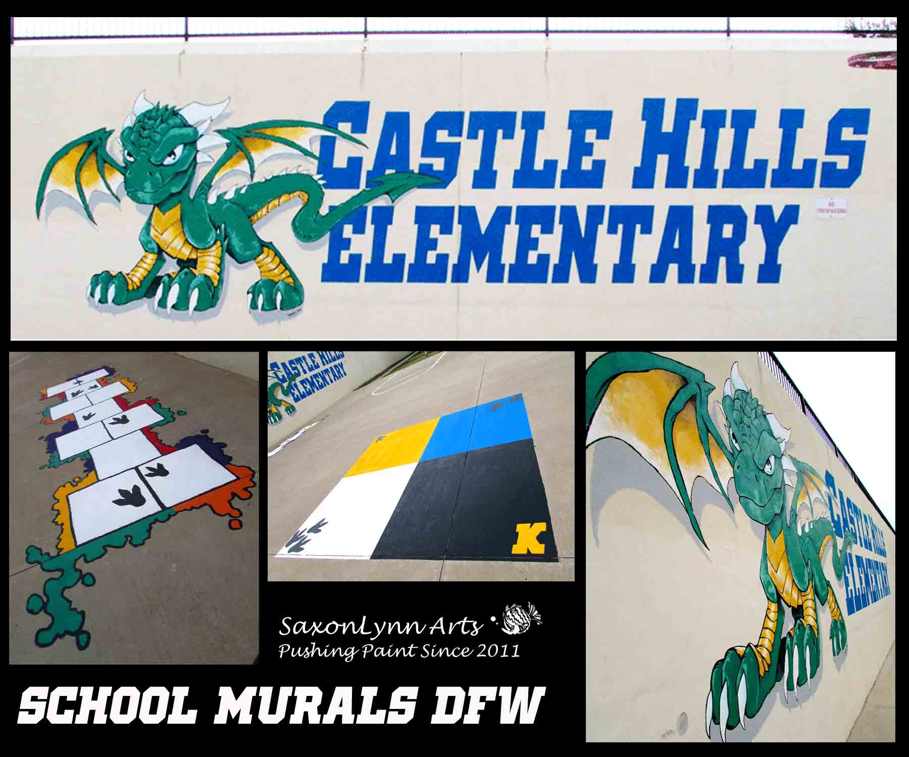 Castle Hills Elementary Logo & Mural painting, Hopscotch, 4 Square