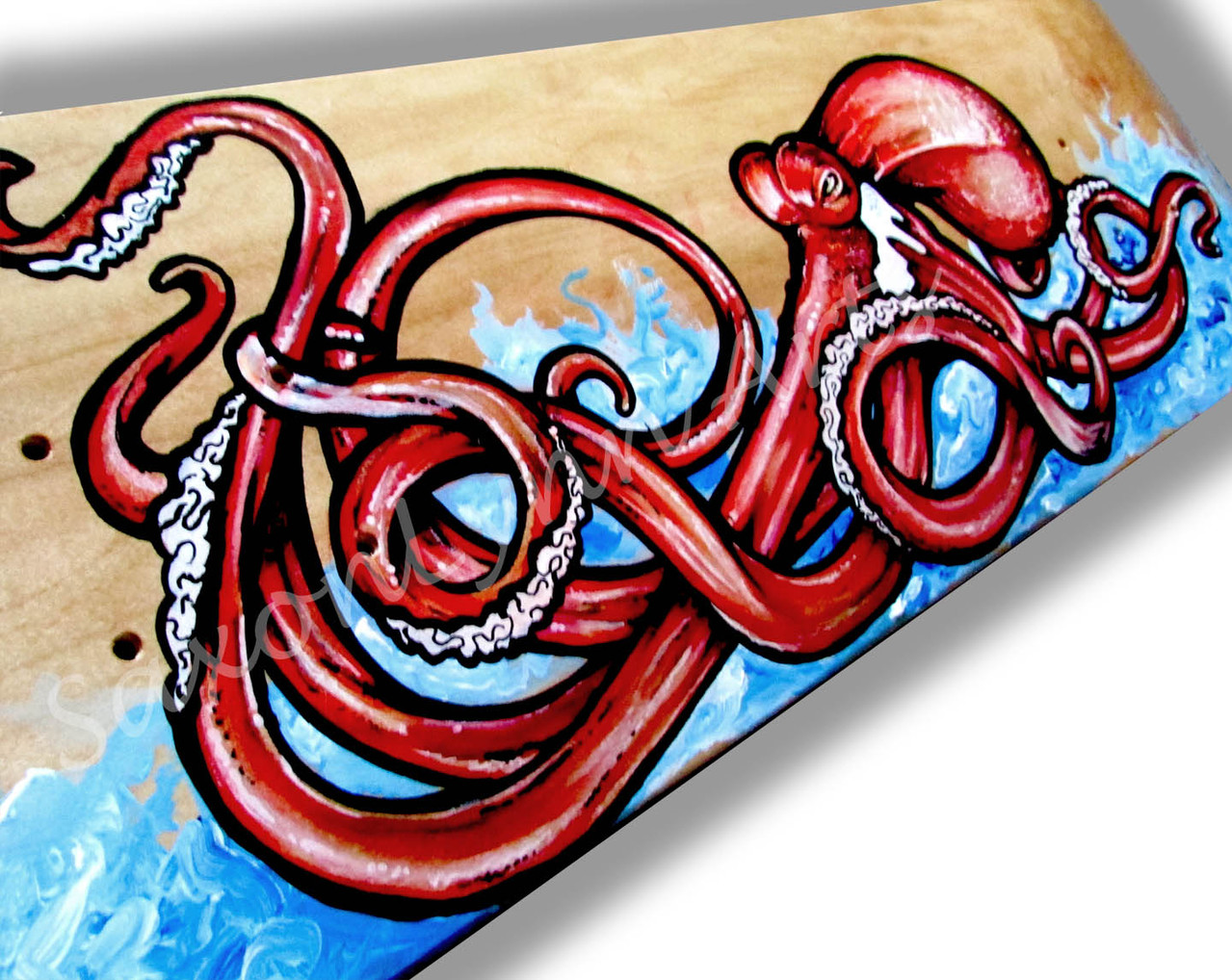 Red To Impress Octopus Custom Skateboard Painting