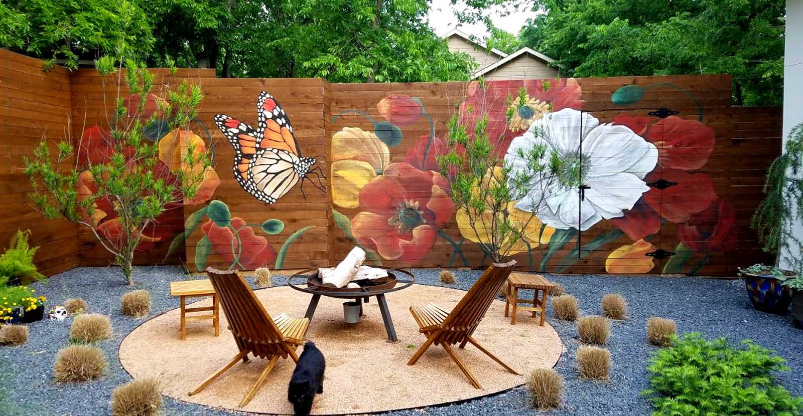 Spring Butterfly Fence Mural  - 10' x 30' Dallas Texas