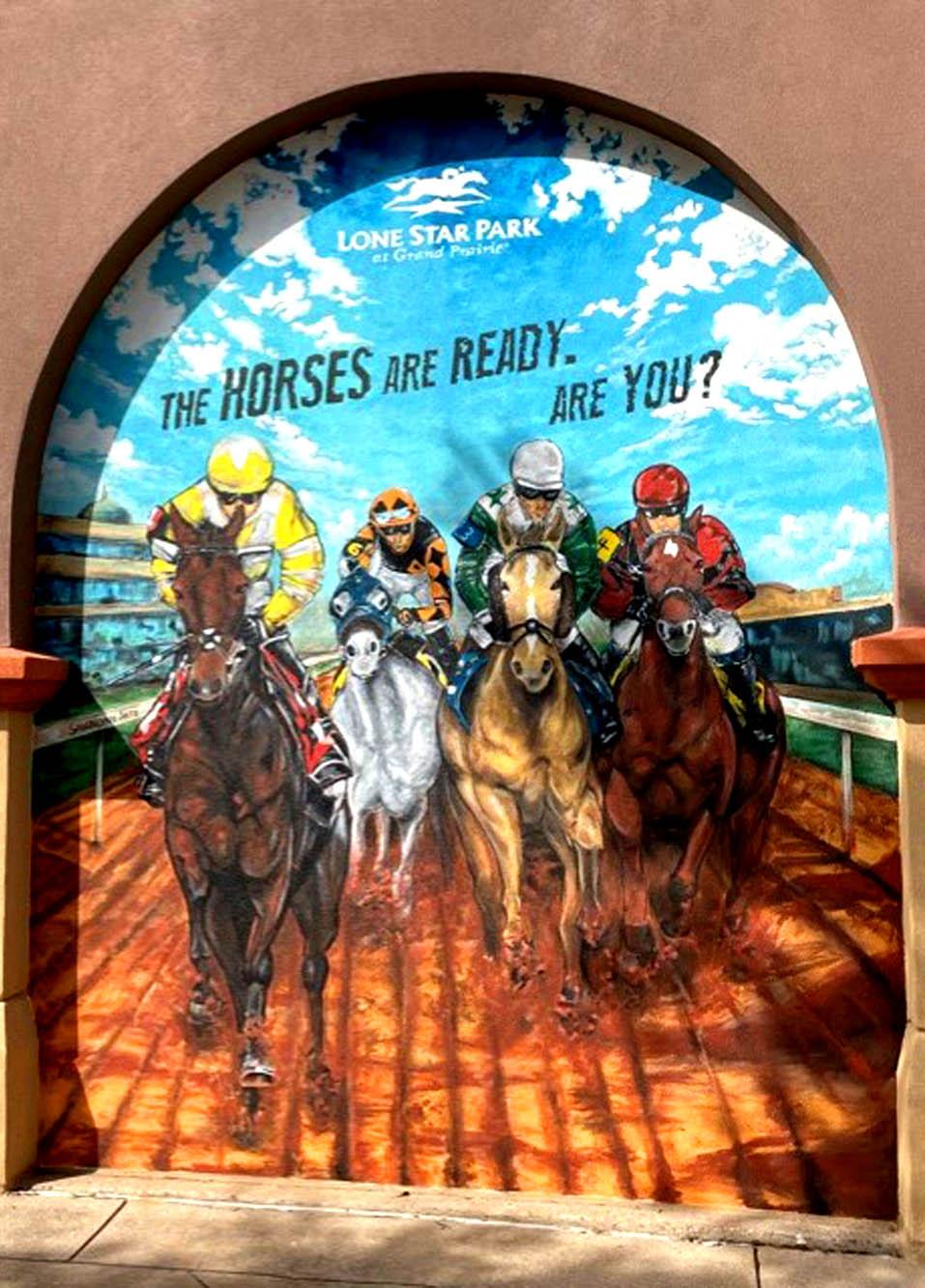 Horse Racing Mural Lone Star Park 3D Mural Grandprairie Texas