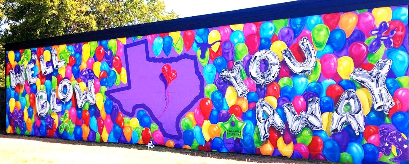 Mylar Balloons 3D Mural Fort Worth Texas