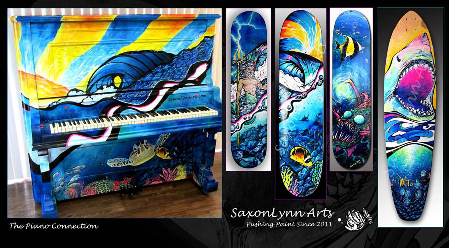 Piano painting of tropical sea theme. skateboards painted to a similar theme.