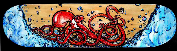 ORIGINAL 'FIESTY WATERS' SKATEBOARD PAINTED  ART 2011