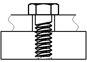 着座の状態つまりボルト座面が被締結物と接触した状態のイメージ図です。